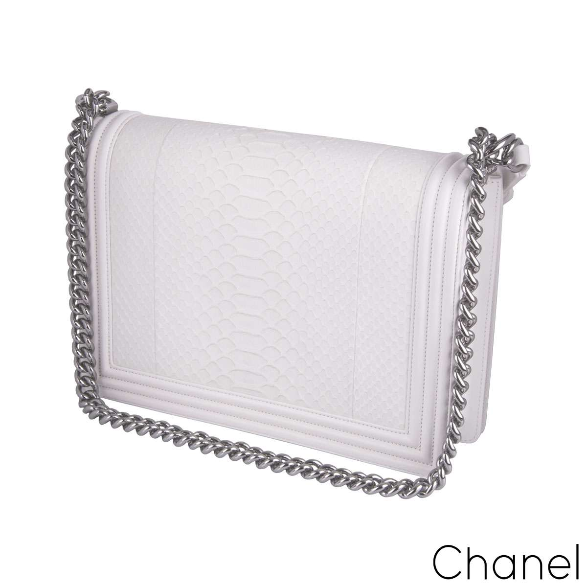 Chanel White Python Large Boy Bag